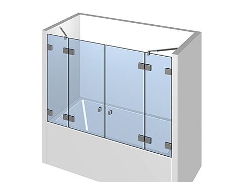 Стеклянная шторка для ванной раздвижная тип 309