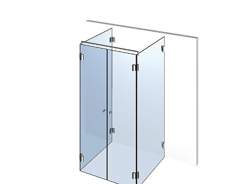 П-образное стеклянное душевое ограждение Тип 402