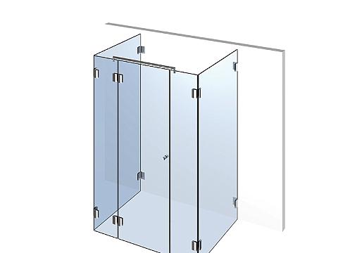 П-образное стеклянное душевое ограждение Тип 403
