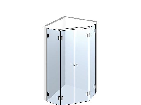 Пятиугольное стеклянное душевое ограждение Тип 501