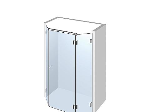 Пятиугольное стеклянное душевое ограждение Тип 502
