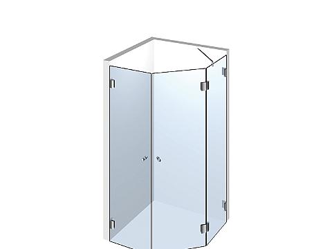 Пятиугольное стеклянное душевое ограждение Тип 506